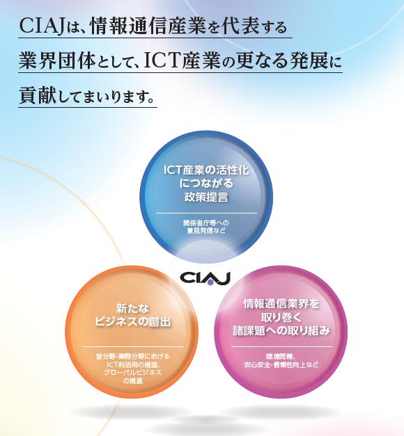 CIAJは、情報通信産業を代表する業界団体として、ICT産業の更なる発展に貢献してまいります。